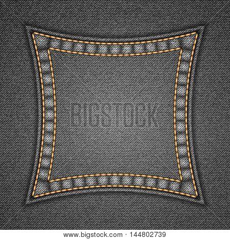 Square patch on denim background. Vector illustration