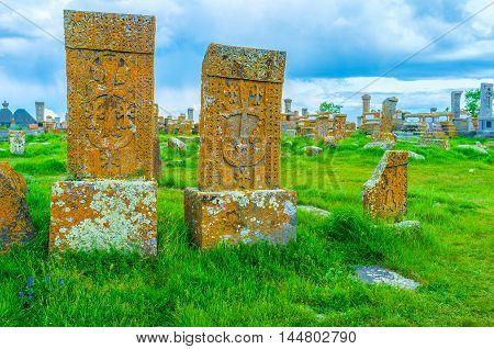 The Noratus Cemetery is one of the notable landmarks located around Sevan Lake Gegharkunik Province Armenia.