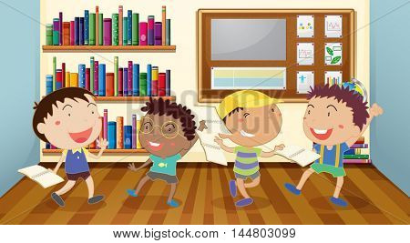 Boys reading books in classroom illustration