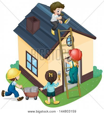 Children painting and fixing the house illustration