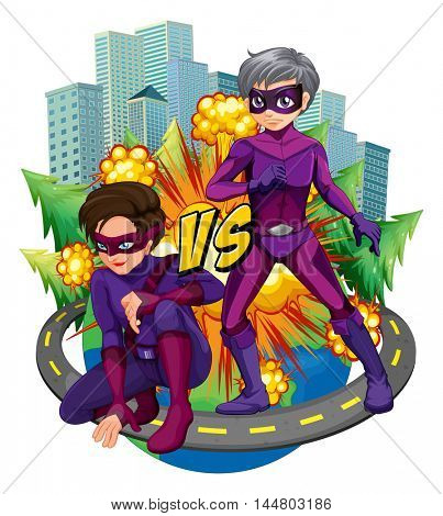 Two superheroes in the city illustration