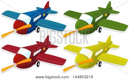 Airplane in four different colors illustration