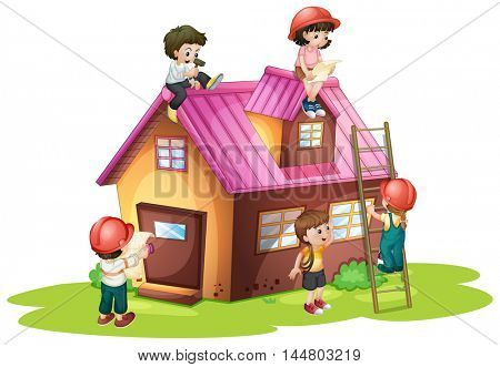 Children fixing and building house illustration