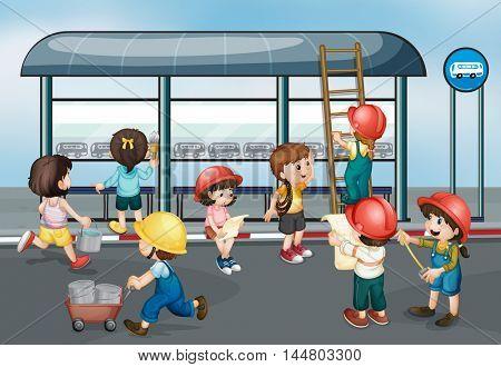 Children at construction site illustration