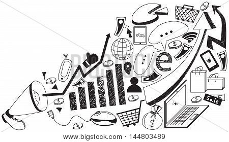 Business media advertising or digital internet marketing handwriting doodle with tool sign and symbol flying from megaphone annoucement in white isolated background used for advertisement create by vector