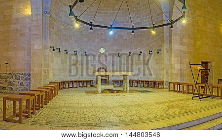 TABGHA ISRAEL - FEBRUARY 22 2016: The Sanctuary of the modern Multiplication Church located on the place of ancient excavations on February 22 in Tabgha.