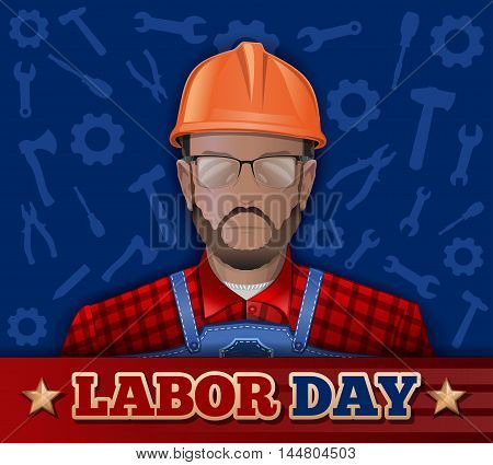 Poster for Labor Day with bearded man in a helmet goggles and working clothes. Vector illustration