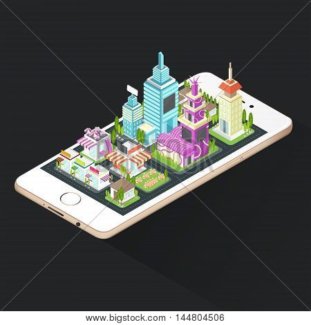 Building house commercial build and cityscape architecture on a smart phone mobile screen with network technology application concept in 3D isometric design create by vector