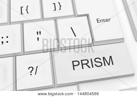 US Surveillance Program: Computer Keyboard With The Word PRISM As A Hot Button 3d illustration