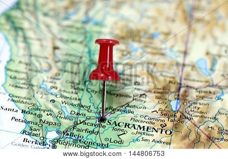 Map with pin point of Sacramento in California, USA