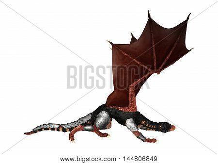 3D Rendering Fantasy Dragon On White