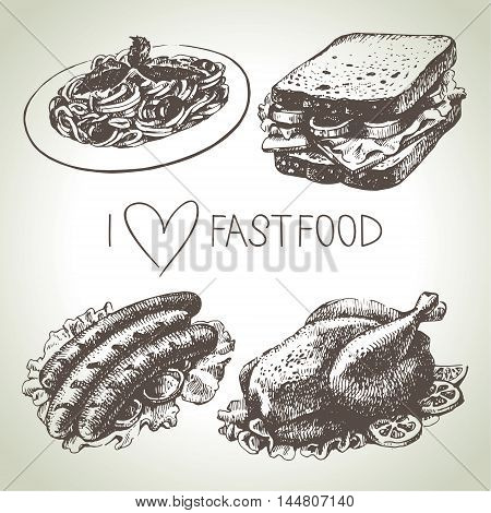 Fast food set. Hand drawn vector illustrations