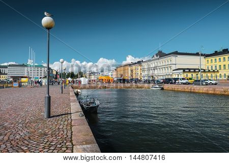 Street view of the city of Helsinki, Finland