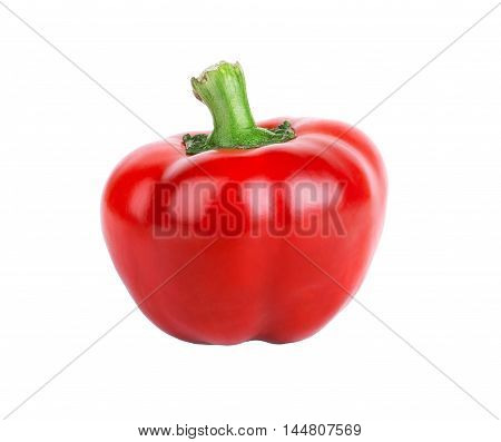 Small red pepper with green stem on white background