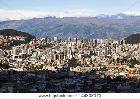 Residential and commercial modern city of Quito, Ecuador