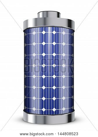 solar power concept - solar panel battery