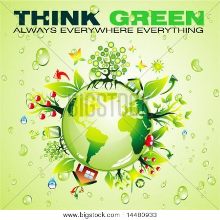 VECTOR Recycling World Concept Background with a lot of green and nature elements
