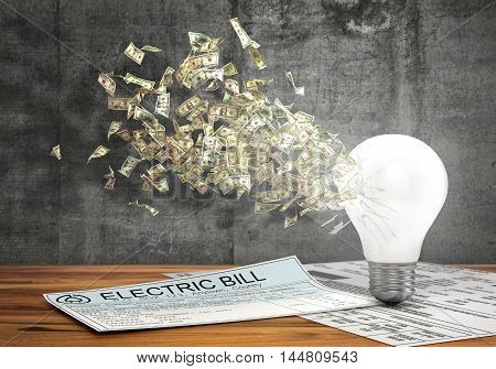 Concept of economy of energy. Money flying from the hole in lightbulb near electric bills on a concrete wall background. 3d illustration