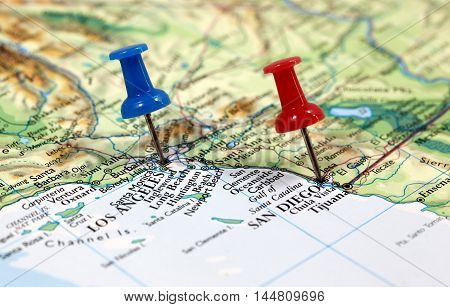 Map with pin point of Los Angeles and San Diego in California, USA