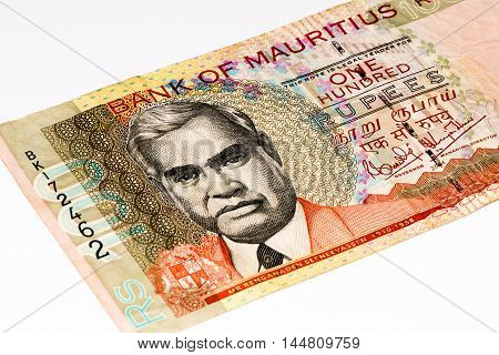 100 Mauritian rupees bank note. Mauritian rupee is the main currency of Mauritius