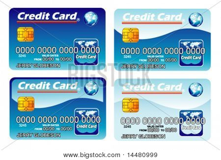 VECTOR Four Credit cards with chip. fully editable