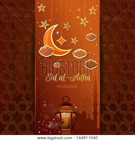 Greeting card with a moon stars mosque and arabic lamp. Islamic design for Eid al-Adha - Festival of the Sacrifice also called the 'Sacrifice Feast' or 'Bakr-Eid'. Vector illustration