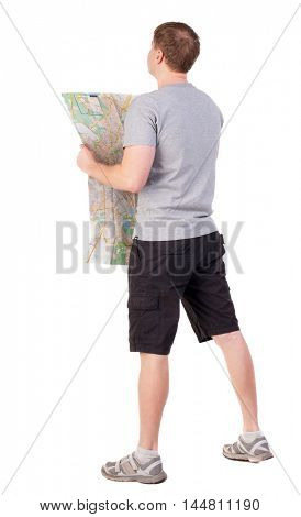 Back view of  journey  young man looking at the map. Rear view people collection.  backside view of person. man in outdoor activities. Isolated over white background. Travelling with a sports figure