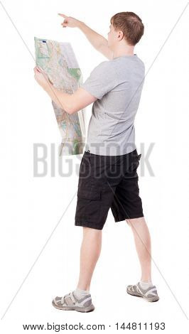 Back view of  journey  young man looking at the map and pointing. travelers man in shorts consider recreation. Rear view people collection.  backside view of person.  Isolated over white background.