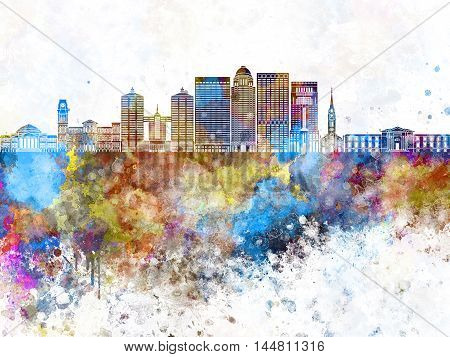 Louisville V2 skyline artistic abstrac in watercolor background