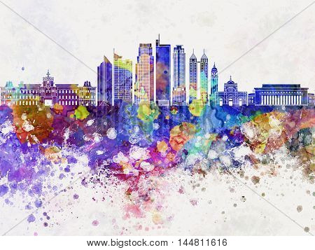 Manila V2 skyline artistic abstrac in watercolor background