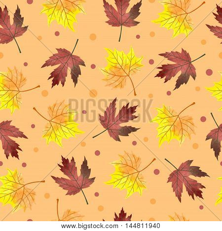 Watercolor maple leaves seamless pattern. Vector background with autumn orange and crimson leaves.