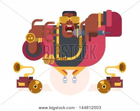 Black rapper character. Person african, music and guy with microphone, singer hip-hop, vector illustration