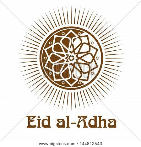 Eid al-Adha - Festival of the Sacrifice. Gold icon and lettering - Eid-Ul-Adha. Vector illustration isolated on white background