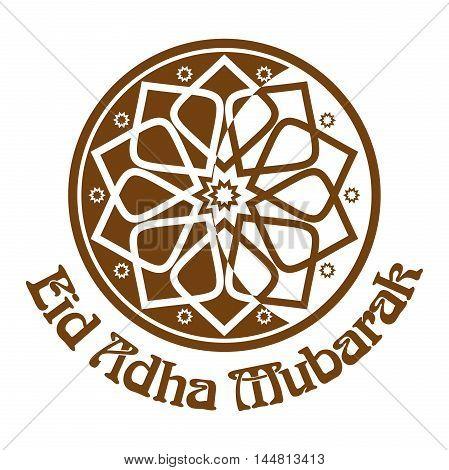 Eid al-Adha - Festival of the Sacrifice Bakr-Eid. Ornament icon and lettering - Eid Adha Mubarak. Vector illustration isolated on white background