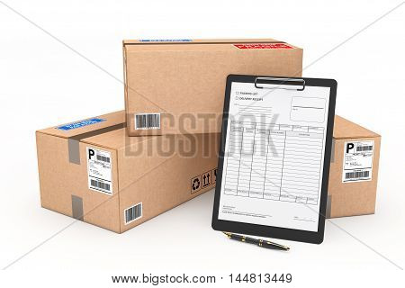 Cardboard Parcel Package with Delivery Note on a white background. 3d Rendering