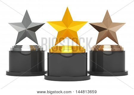 Gold Silver and Bronze Star Awards on a white background. 3d Rendering