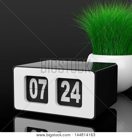 Vintage Flip Clock with Grass in White Ceramics Planter on a black background. 3d Rendering