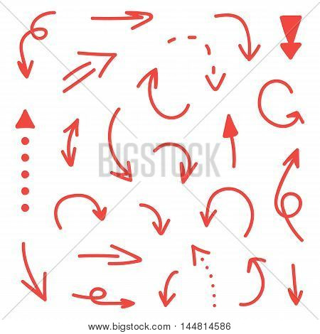 Set, collection of red hand-drawn arrows isolated on white background.