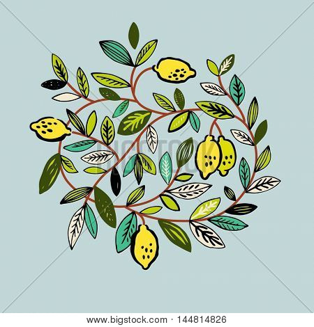 Bright illustration with a lemon tree