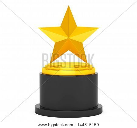 Gold Star Award on a white background. 3d Rendering