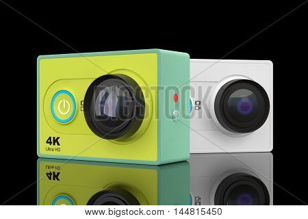 Small Ultra HD Action Camera on a black background. 3d Rendering