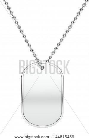 Silver Army Identity Tag on a white background. 3d Rendering