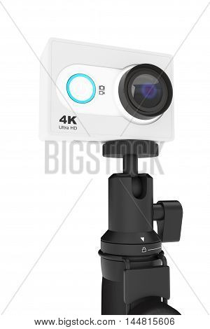 Small Ultra HD Action Camera with Extensible Selfie Stick Monopod on a white background. 3d Rendering