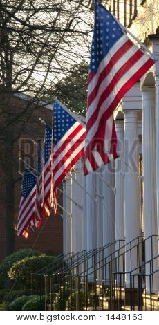 American Flags Hanging In A Row
