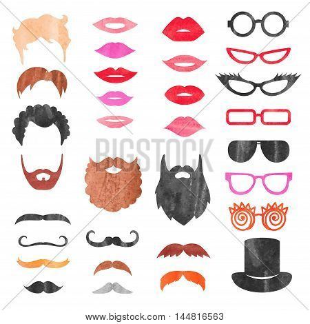 Watercolor props set. Vector collection of mustache, beards, haircuts, lips and sunglasses. Birthday party photo booth props.