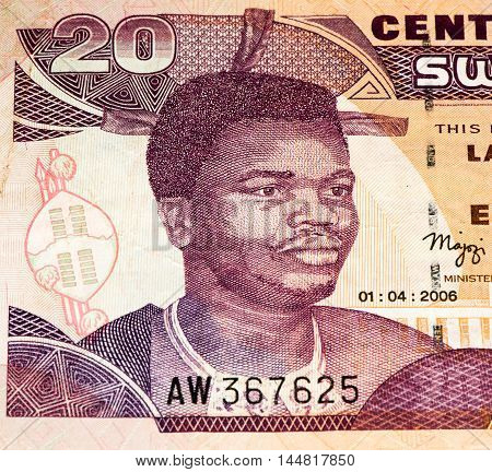 20 Swazi emalangeni bank note. Swazi emalangeni is the currency of Swaziland