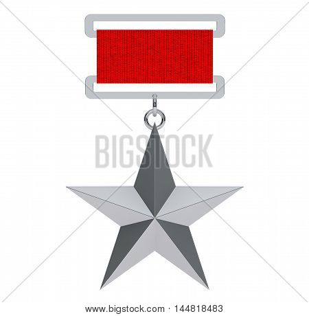 Hero of the Soviet Union Silver Star Award on a white background. 3d Rendering