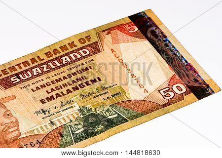 50 Swazi emalangeni bank note. Swazi emalangeni is the currency of Swaziland