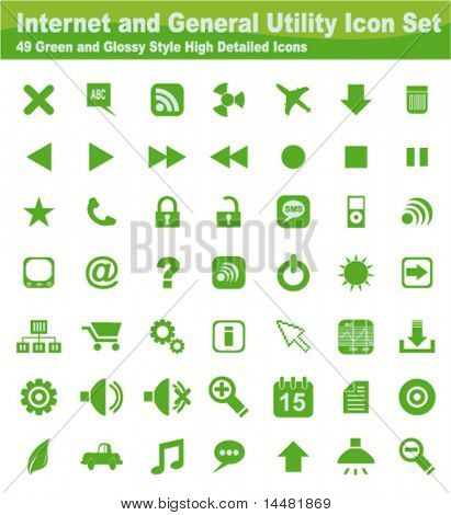 Internet and General Utility Icon Set - 49 Design elements