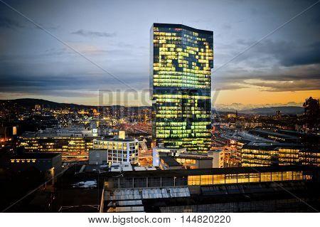 Tower, Zürich, City, lights, Hardbrücke, Urban, Cloudy, sunset